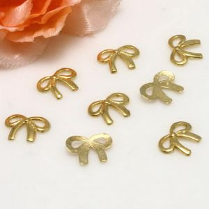 Metal embellishments, Metal alloy of copper, iron, tin, Gold colour, 11mm x 8mm x 1mm, 10 pieces, (LJP430)